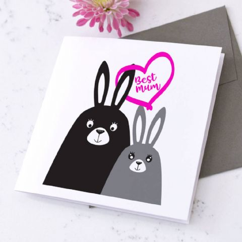 Personalised Rabbit Mother's Day Card